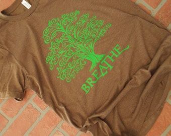 Tree Hugger Shirt, Breathe Green Tree Graphic T-Shirt, Environmental T-Shirt, Save the Planet, Tree Preservation, Arbor Day