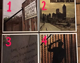 Walking Dead Inspired Drink Coasters   Set of 4   Price Per Set   Choose Your 4   Mix and Match   Coaster Set