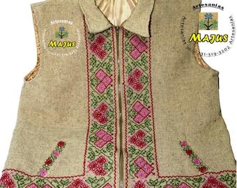 Handmade wool vest hand embroidery