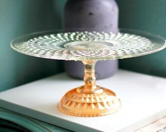 """Gold Cake Stand for Vintage Gold Weddings / 15"""" Glass Cake Stand / Cake Platter / Cake Dish / Cake Plate / Elegant Golden Cake Pedestal"""