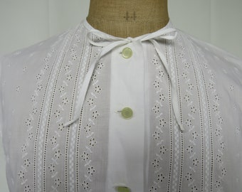 vintage/1950s/white/cotton/blouse