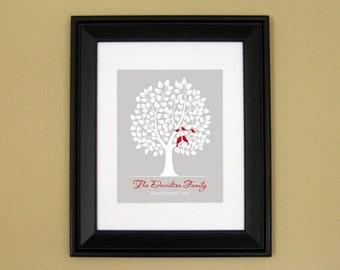 25th Anniversary Gift - 25 30 35 40 50 Year Wedding Anniversary Gift - Family Tree Art Print - Bird Family in Tree - 8x10 or 11x14