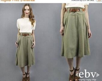 Midi Skirt Olive Green Skirt Normcore Skirt Minimal Skirt 1990s Midi Skirt 90s Midi Skirt High Waisted Skirt Hi Rise Skirt Belted Skirt L