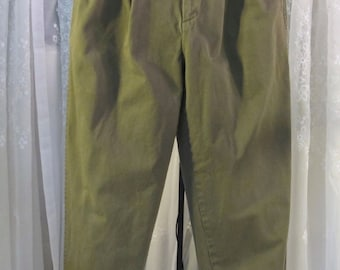 "Vintage 90's men's Nautica muted olive green casual denim cuffed pants 34"" x 32"""