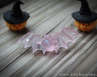 Pink Glitter Bat Brooch