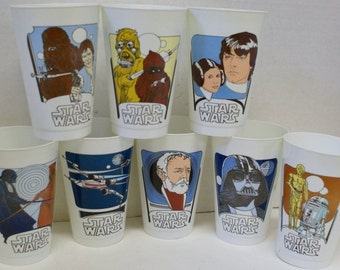 COMPLETE Set of 8~ Limited Edition 1977 Vintage STAR WARS Coca Cola Promo Cups