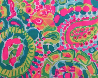 """multi come out of your shell ~ shell print dobby cotton fabric square 15""""x15"""" ~ lilly spring 2017 ~ lilly pulitzer"""