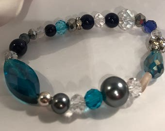 Womens Czech Glass Pearl Stretch Bracelet Gift for her