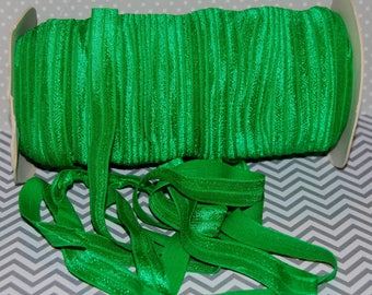 "Green FOE - Fold Over Elastic - 5 yds - Emerald Green 684 Shiny FOE 3/8"" inch  Baby Headbands Hair Ties Satin Elastic Soft -  Elastic  FOE"