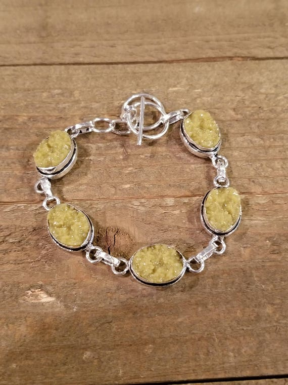 Yellow Druzy Crystal Link Bracelet Earth Spirit Jewelry Fashion Natural Nature Boho Hippie (B58)