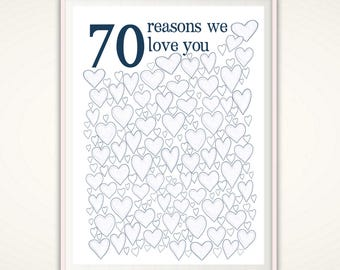 70th Birthday Gift For Dad - 70th Birthday Poster, Sign, Party Decorations, Gift for Him, Guest Book, 70 Year Old Birthday, PRINTABLE DIY