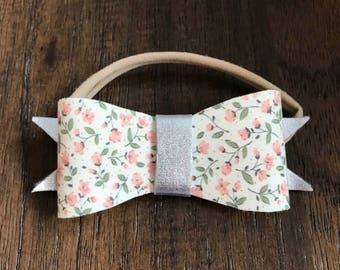 Felt bow headband, print bow, bow headband, felt headband, felt headbands for girls, print headband, print hair band, silver bow headband