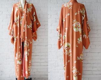 C. 1940s Silk Rayon Kimono   Wrapper   Robe