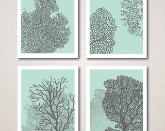 Underwater Sea Coral Home Decor Art Prints, Set of 4
