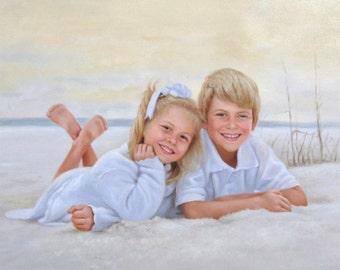 Custom Portrait.Personalized Portrait.Custom Oil Painting.Custom Painting.Custom Portrait from Photo.Childrens Portrait.6 Sizes.Two Payments