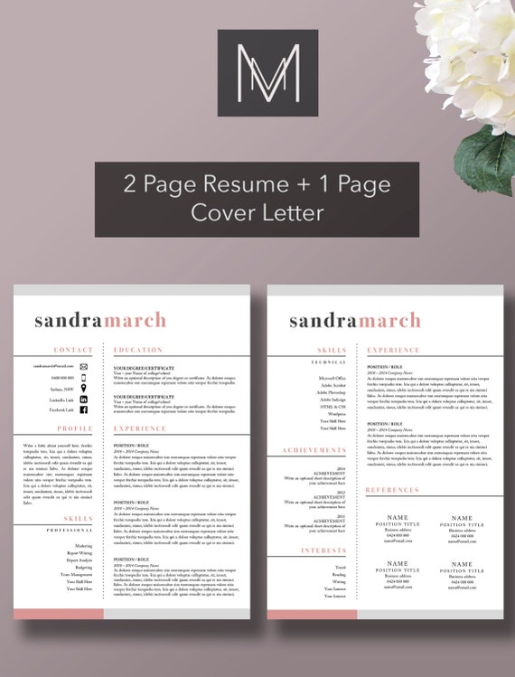 professional resume template 2 page resume 1 page cover letter professional template microsoft word resume cv design - 2 Page Resume