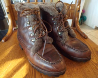 Vintage Cole Haan Hiking Trail Boots Women's Brown Leather Lug Soles Size  7M Camping Harness Lace