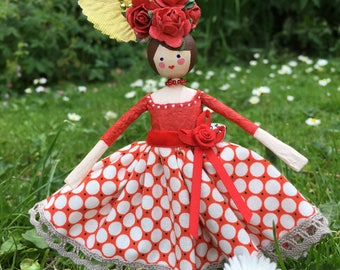 Hand made papier maché flower fairy doll.