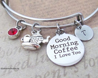 Good Morning Coffee I Love You Cup and Pot Personalized Hand Stamped Initial Birthstone Coffee Stainless Steel Expandable Bangle Bracelet