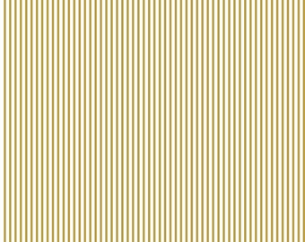 Small Stripe SPARKLE Gold by Riley Blake Designs - Metallic White Pin Stripe - Quilting Cotton Fabric - choose your cut