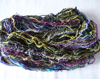 Handspun free-form art yarn, OOAK, shawl scarf knitting crocheting weaving, Incredibly beautiful, Scrapbooking Decor