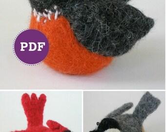 PDF-PATTERN. A Knit & Felt Wool Birds Downloadable PDF Pattern