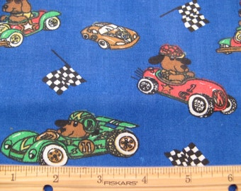 Fat Quarter Children's Novelty Fabric - Dogs in Racecars and Checkered Flags Allover on Blue - Haber Fabrics - OOP