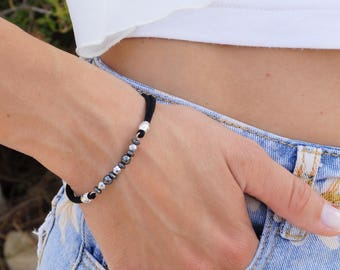 Black Hematite Bracelet Hematite bracelet Black and silver bracelets Delicate bracelets Free shipping
