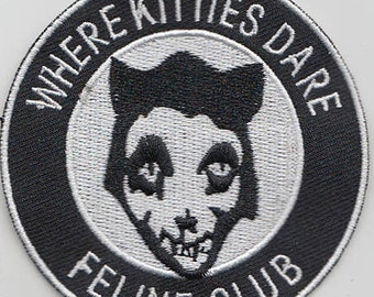 "3"" FELINE CLUB MISFITS embroidered iron on patch punk metal"