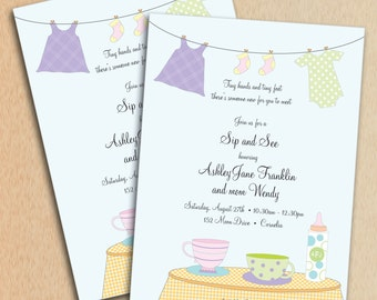 Baby Shower Invitation Sip and See Design