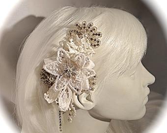 Lace Bridal Hairpiece Wedding Accessories White Rhinestone Headpiece  B-144
