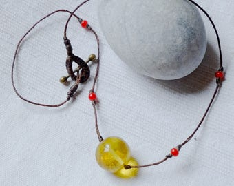 Amber necklace from Mexico - Luz del sol - minimalist amber necklace