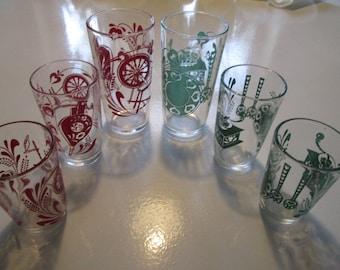 Lot of 6 Swanky Swig Kraft Antiques Juice Drinking Glasses