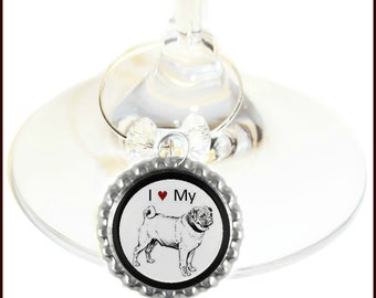 Pug Dog Wine Charms - Set Of 6