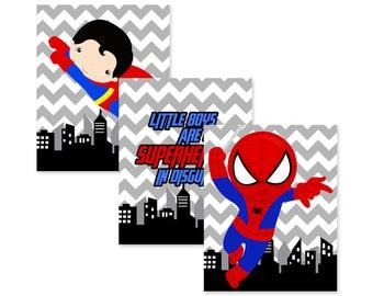 superhero wall art PRINTS, PRINTED, super hero wall art, superhero bedroom, set of 3 prints shipped to your door