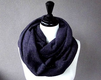 Wool blend infinity scarf,  knit wrap, dark purple neck warmer, chunky infinity scarf