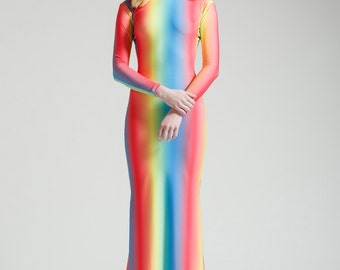 SALE Ombre Rainbow Long Sleeved Swan Necked Maxi Gown with Train
