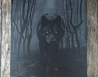 Black Wolf Print, Risograph Art Print, Limited Edition, Forest Print, Gothic Home Decor, Fantasy Art, Gothic Art, Dark Art, Macabre Art, A3
