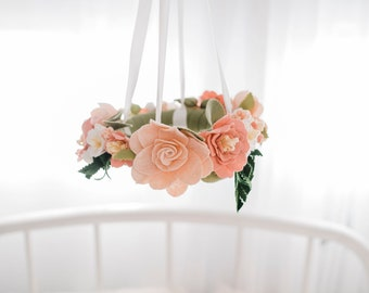 Girl's Nursery Flower Mobile - Baby Girl Mobile - Blush and Pale Pink - Floral Ring mobile