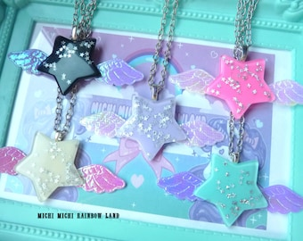 Pastel Goth Iridescent Angel Wings Stars Resin Necklace or Brooch