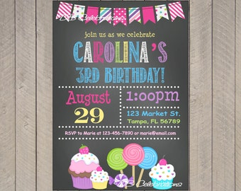 Sweet Shoppe Chalkboard Printable Invitation, Digital Invitation, Candyland Birthday Party, Birthday Party Invitation, Chalkboard Invite