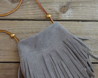 Gray Mini Fringe purse for the littles
