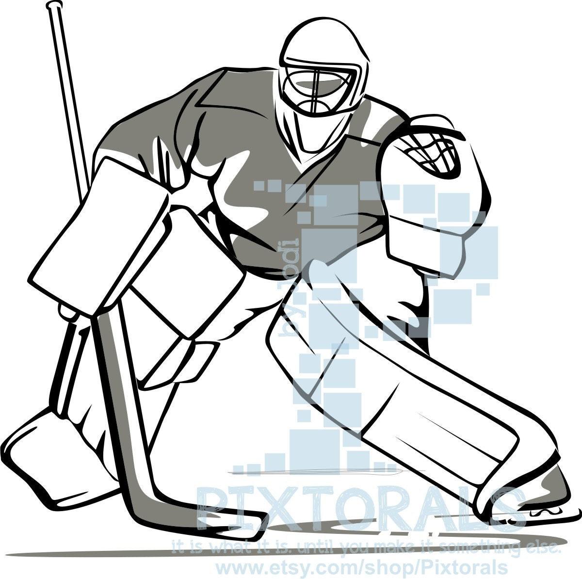 hockey goalie line art png transparent backgrounds eps rh etsy com hockey goalie mask clipart hockey goalie clipart