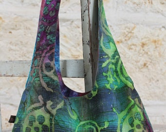 Hobo Batik Reversible Shoulder Bag & Purse