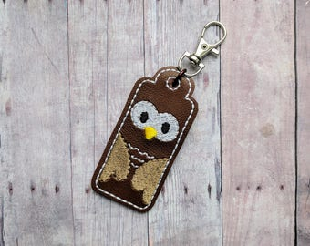 Owl Lip Balm or USB Case, Embroidered Marine Vinyl in Choice of 31 Colors, 3 Hardware Options, Made in USA, Thumb Drive Case