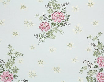 1950s Vintage Wallpaper by the Yard - Floral Wallpaper with Pink Flowers and Metallic Gold Accents on White