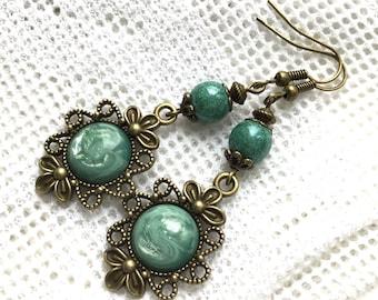Green dangle earrings antiqued green earrings vintage style dangle earrings