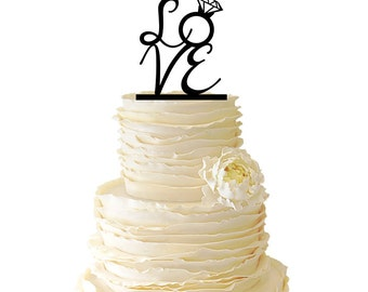Love - Diamond Ring -  Acrylic or Baltic Birch Wedding/Special Event Cake Topper - 019