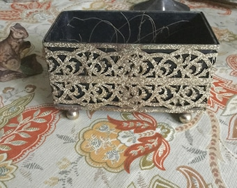Mid Century Ornate Metal Footed Planter with Plastc Decorative Liner-Floral Arrangement/Live Plant Holder