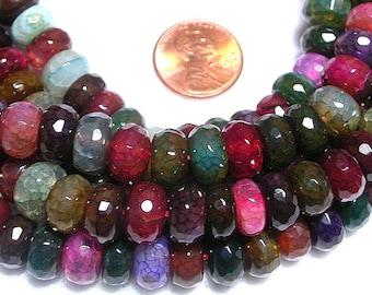 Dragons Vein 10mm X 8mm Sedona Agate Rondelle Beads Gemstones 55 Beads Stunning Crackled Agate Polished Agate Rondelle Beads